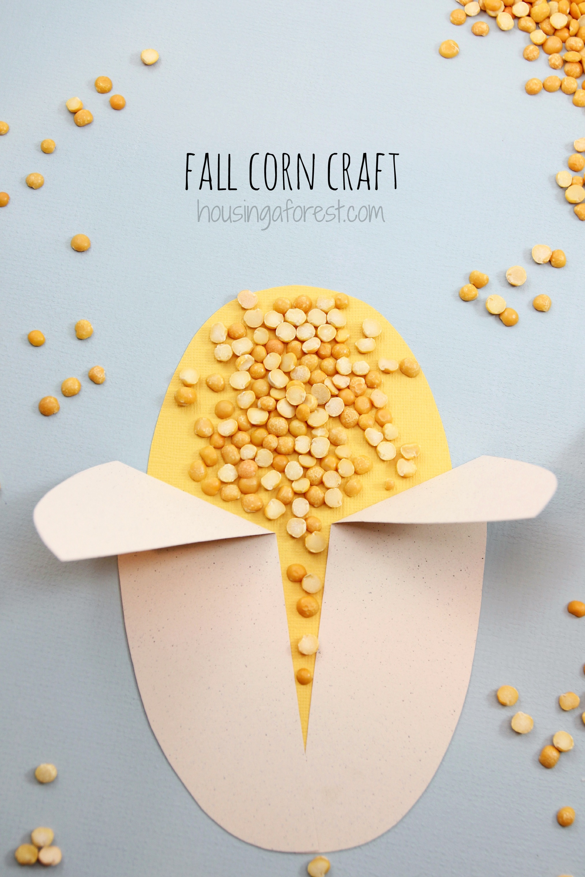 Easy corn craft housing a forest for Quick crafts for preschoolers
